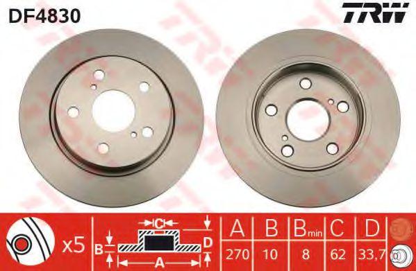 Диск гальмівний задній TRW DF4830