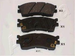 Тормозные колодки передние (16.5mm) KIA Clarus II 1.8, 2.0 98-, Carens 1.8 ASHIKA 50K0017