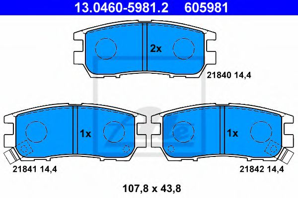Дисковые тормозные колодки, комплект ATE 13046059812