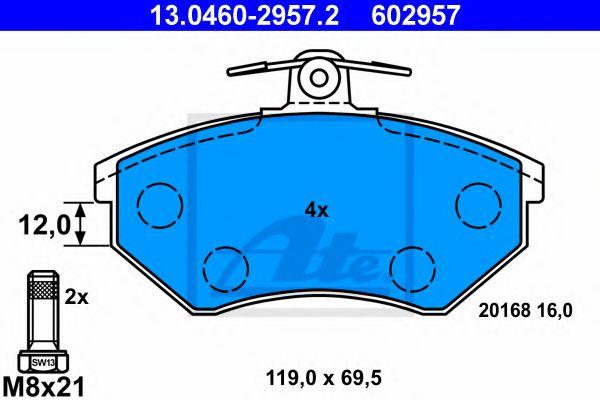 Дисковые тормозные колодки компл. ATE 13046029572
