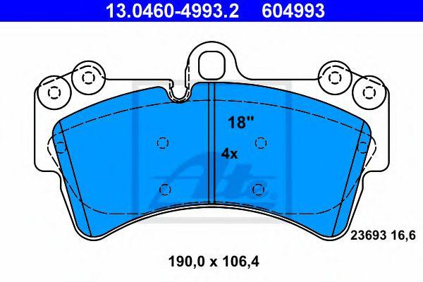 Дисковые тормозные колодки компл. ATE 13046049932