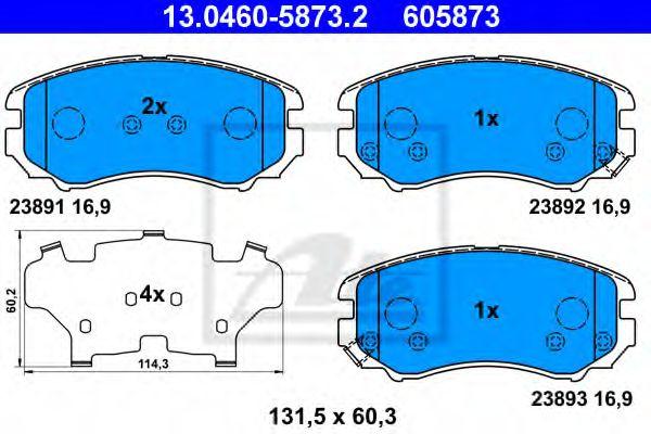 Дисковые тормозные колодки, комплект ATE 13046058732