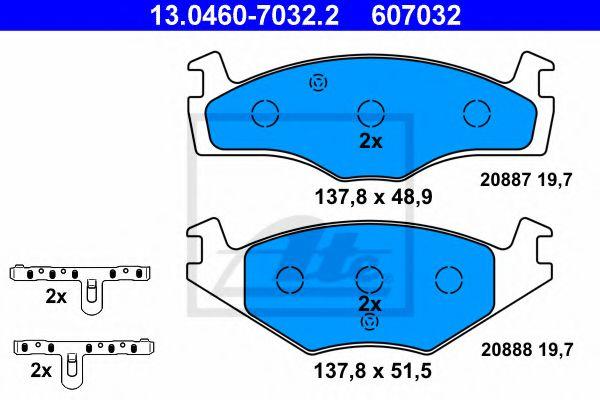Дисковые тормозные колодки, комплект ATE 13046070322