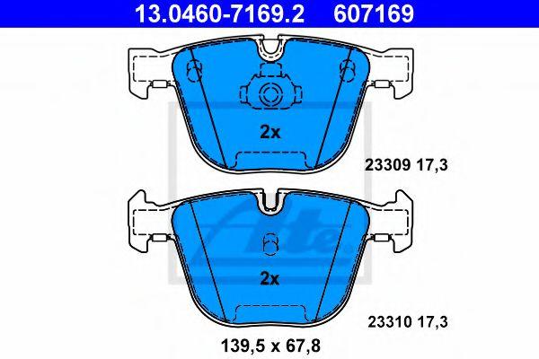 Дисковые тормозные колодки, комплект ATE 13046071692