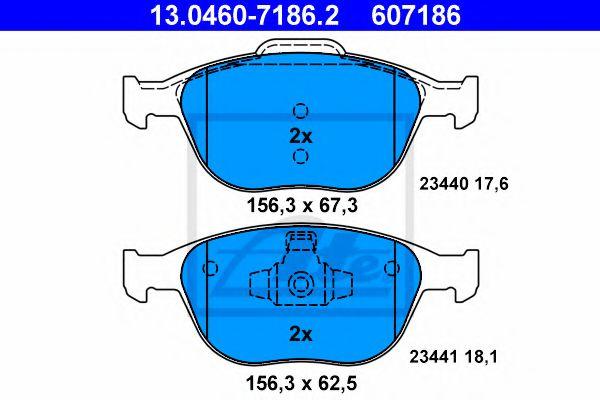 Дисковые тормозные колодки, комплект ATE 13046071862