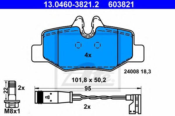 Дисковые тормозные колодки компл. ATE 13046038212