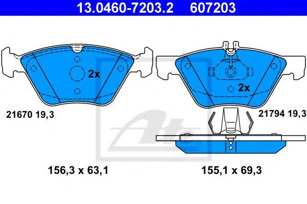 Дисковые тормозные колодки компл. ATE 13046072032