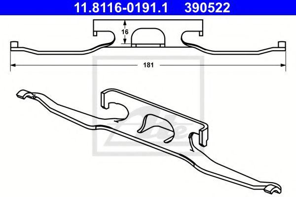 Скоба /пружина/ переднего супорта MB Sprinter -06 ATE 11811601911
