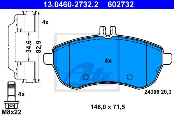 Тормозные колодки ATE 13046027322