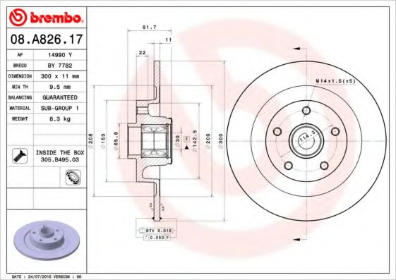 08.A826.47 Тормозной диск Brembo BREMBO 08A82617